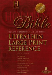HCSB UltraThin Reference Bible, Large Print Bonded Leather,  Thumb-Indexed  -