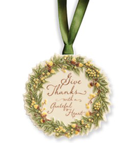 Give Thanks Ceramic Acorn Wreath Mini-Plaque   -