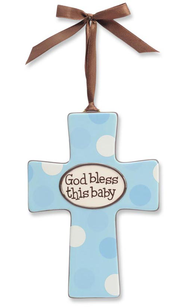 God Bless This Baby Wall Cross, Blue  -
