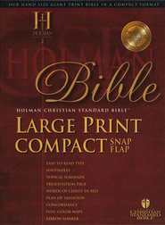 HCSB Large Print Compact Bible, Blue Bonded Leather with Snap Flap   -
