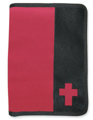 Canvas Wallet Style Bible Cover,  Pink, Black, Medium  -
