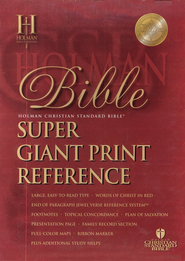 HCSB Super Giant Print Reference Bible Black Genuine Leather, Thumb-Indexed  -