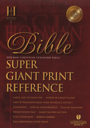 HCSB Super Giant Print Reference Bible, Bonded Leather,   burgundy Thumb-Indexed  -