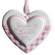 Jesus Loves Me Heart Wall Plaque, Pink  -