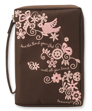 Love the Lord Your God Bible Cover, Pink and Brown, Medium  -