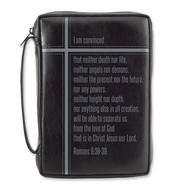Romans 8 Bible Cover, Black, Large  -