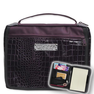 Bible Cover Organizer, Black Croco and Purple, Large  -