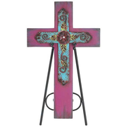 Decorative Cross Plaque with Easel, Pink  -