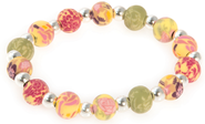 Small Bead Expandable Bracelet with Cross, Pinks and Green  -