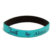 Personalized, Faith Wristband, With Name and Butterfly, Teal  -