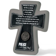 Police Tabletop Cross, A Caring Heart  -