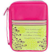 It's My Heartfelt Prayer Bible Cover, Pink and Lime Green, Medium  -