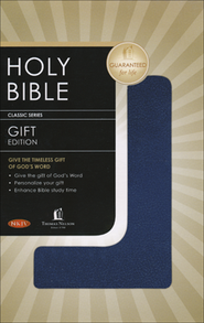 NKJV Gift & Award Bible, Imitation leather, Navy blue  - Imperfectly Imprinted Bibles  -