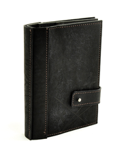 Leather Journal with Photo Sleeves, Black  -