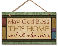 God Bless This Home Wood Sign  -