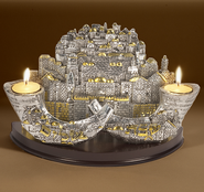 Jerusalem/Shofars Candle Holder, Silver Plated   -