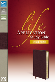 NIV Life Application Study Bible, Large Print, Bonded Leather, Burgundy  -