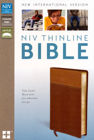NIV Thinline Bible, Tan/Dark Tan Duo-Tone   -
