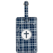 Luggage Tag with Cross, Navy  -