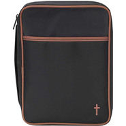 Microfiber Bible Cover with Cross, Black and Brown, Medium  -