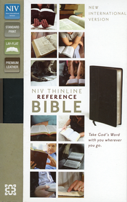 NIV Thinline Reference Bible, Premium Leather, Ebony   -