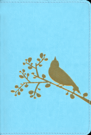 NIV Flora-Fauna Collection, Turquoise with Gold Foil Bird Design ,Compact  -