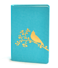 NIV Flora-Fauna Collection, Turquoise with Gold Foil Bird Design   -