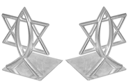 Ichthus and Star of David, Silver Bookends   -