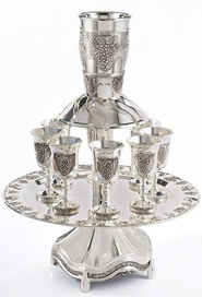 Kiddush Wine Fountain, 8 Goblets, Silverplated   -