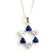 Star of David Hearts w/Blue and White Zirconia   -