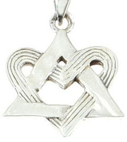Entwined Heart Star of David Pendant   -