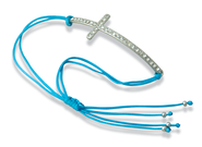 Stone Cross Bracelet Blue Thread, Silver Cross  -