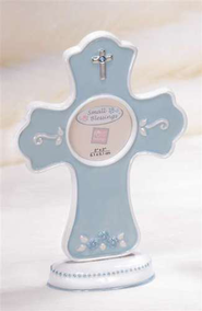 Baptism Frame with Cross, Blue  -