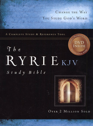 KJV Ryrie Study Bible Burgundy, Bonded Leather, Red Letter   -