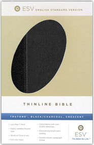 ESV Thinline TruTone Bible Black/Charcoal, Crescent Design  -