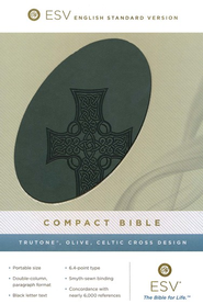 ESV Compact Bible--soft leather-look, olive with Celtic  cross design  -