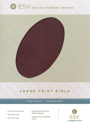 ESV Large-Print Bible--soft leather-look, burgundy  -