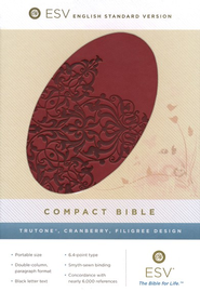 ESV Compact Bible, TruTone, Cranberry, Filigree Design  -