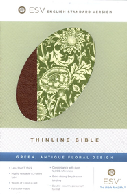 ESV Thinline Bible, Green, Antique Floral Design  -