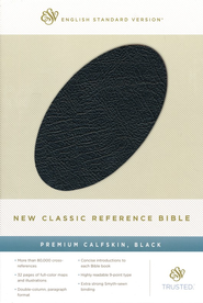 ESV New Classic Reference Bible, Premium Calfskin, Black - Slightly Imperfect  -