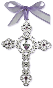 Filigree Wall Cross with Grapes  -