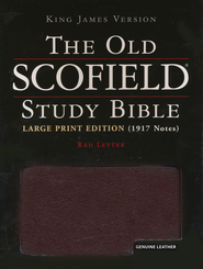 The Old Scofield Study Bible, KJV, Large Print Edition Genuine Leather Burgundy, Indexed  -