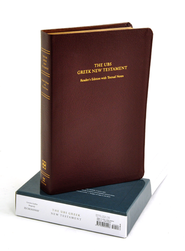UBS Greek New Testament: Reader's Edition with Textual Notes, Genuine Leather, burgundy  -              Edited By: Barbara Aland, Kurt Aland, Johannes Karavidopoulos, Bruce M. Metzger                   By: Barbara Aland et al., eds.