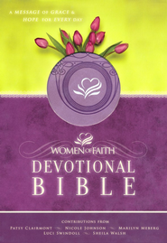 NKJV Women of Faith Devotional Bible: A Message of Grace & Hope for Every Day - LeatherSoft Misty Lavender - Slightly Imperfect  -