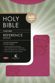 NKJV Nelson Reference Bible--soft leather-look, burnished light cranberry with foliage design  -