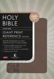 NKJV Personal Size Giant Print Reference Bible - LeatherSoft Burnished Deep Taupe, Geometric  -