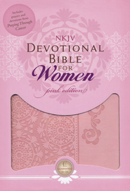 NKJV Women of Faith Devotional Bible for Women, Breast Cancer Edition--soft leather-look, pink  -