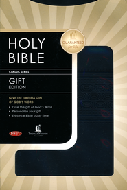 NKJV Gift Bible: Leathersoft Burnish Black Tread  -
