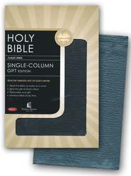 NKJV Single Column Bible: Genuine Leather Black  -