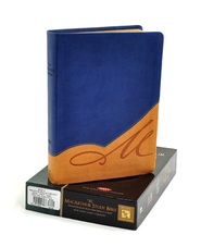 The NKJV MacArthur Study Bible: Revised and Updated, Leathersoft, Butterscotch/Blue Jay  -              By: John MacArthur